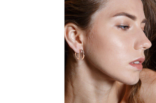 GeoArt Round Mini Hoop Diamond Earrings in Rose Gold