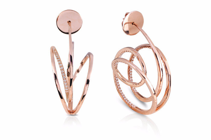 Talay Wave Hoop I Rose Gold Earrings