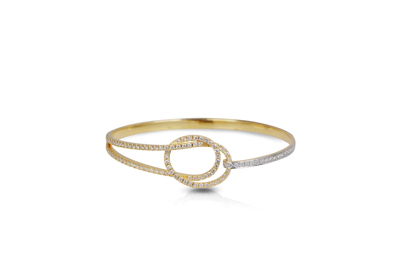 Talisman: Eternity Knot Diamond Yellow Gold Bangle