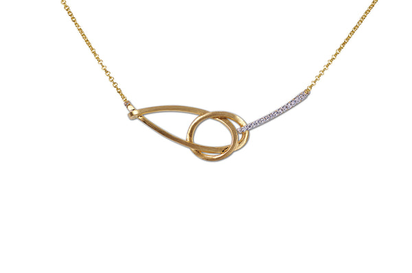 Talisman: Eternity Knot Diamond Necklace in Brushed Gold