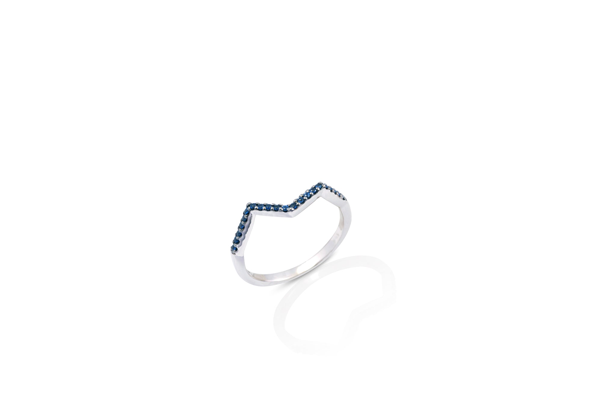 Origami Ziggy Micro Ring in Blue Sapphire