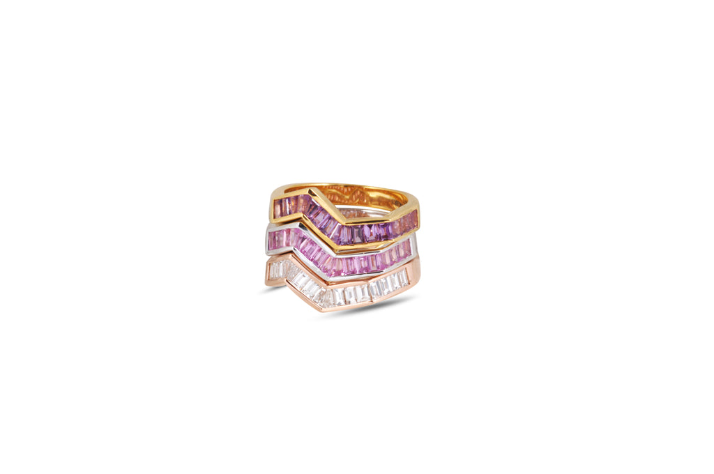 Origami Ziggy Diamond Ring ( Pink, Purple Sapphire & Diamond)