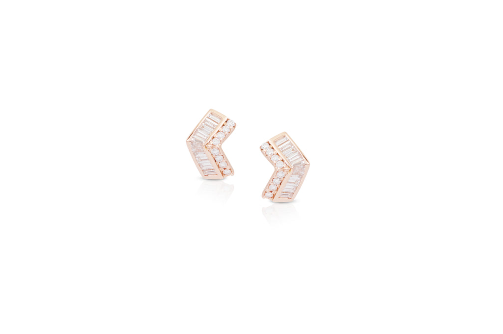 Origami Ziggy Mini Stud Diamond Earrings