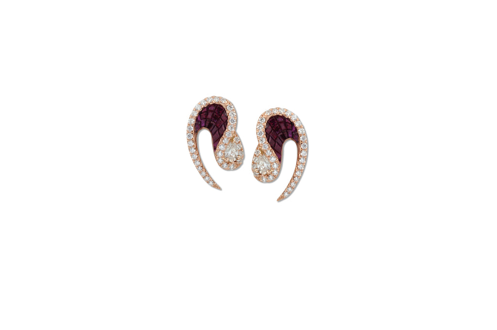 Talay Wave Invi Ruby and Diamond Mini Wave II Earrings