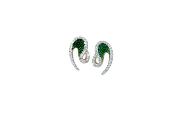 Talay Wave Invi Tsavorite and Diamond Mini Wave II Earrings