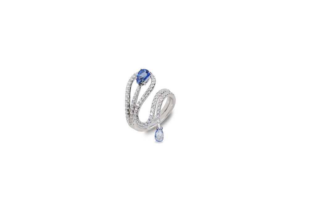 Talay Wave Stack BlueSapphire and Diamond Ring [as seen on Gabrielle Union]