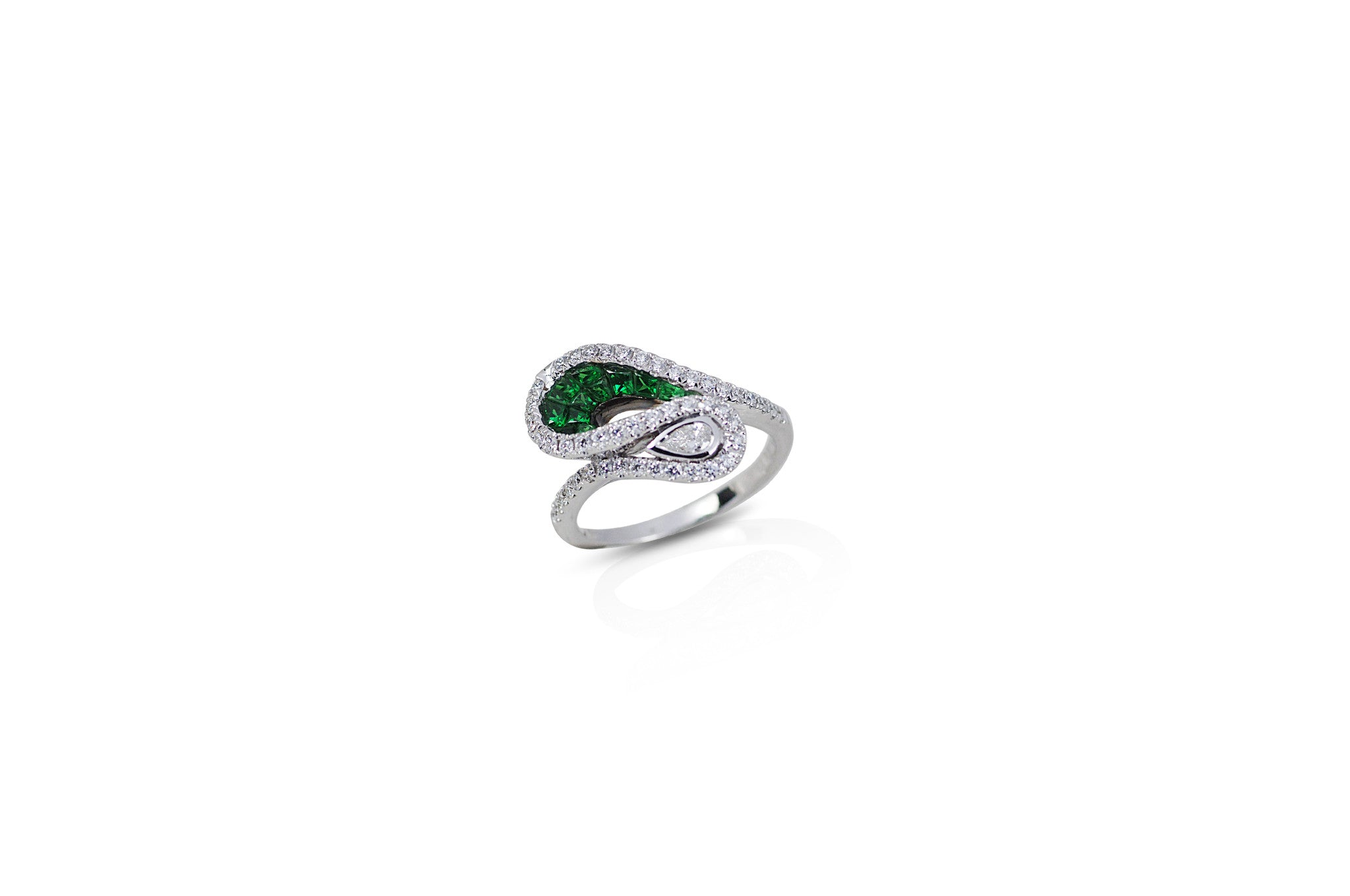 Talay Wave Invi-Drop Tsavorite Garnet and Diamond Ring
