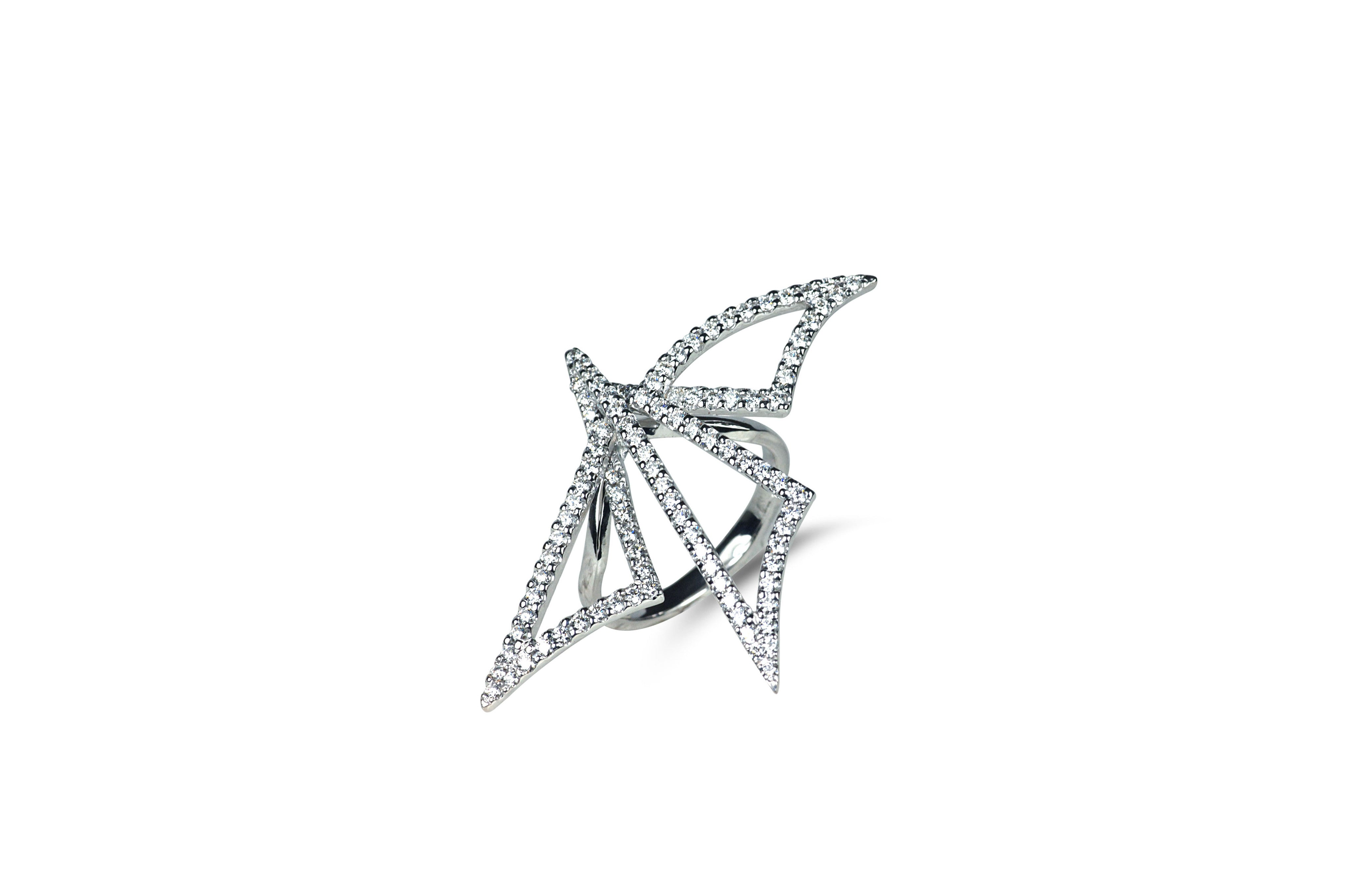 Origami dragonfly silhouette diamond ring as seen on adriana lima origami dragonfly silhouette diamond ring as seen on adriana lima jeuxipadfo Image collections