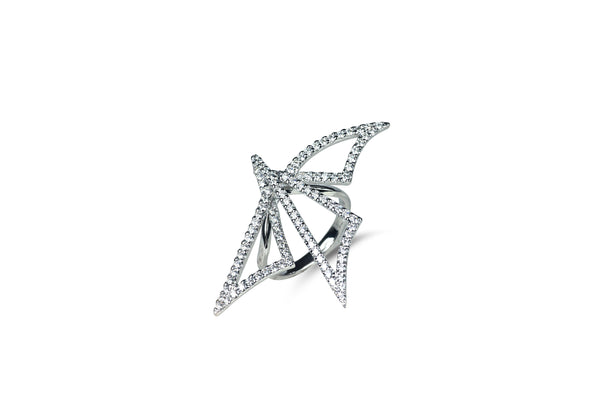 Origami Dragonfly Silhouette Diamond Ring [as seen on Adriana Lima]