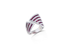 Origami Asymmetry Ruby & Diamond Ring as seen on Jennifer Lopez