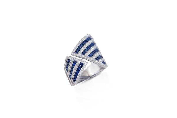 Origami Asymmetry Sapphire & Diamond Ring as seen on Jennifer Lopez