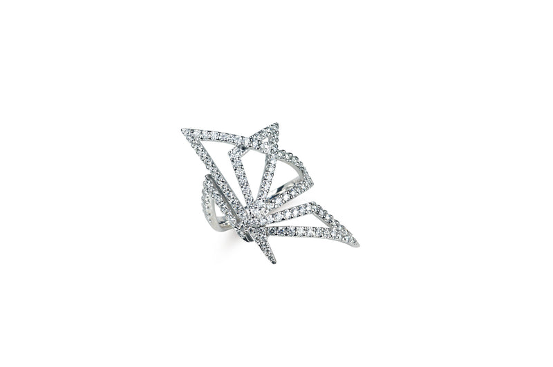 Origami Butterfly Silhouette Diamond Ring