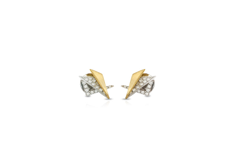 Origami Brushed Gold Mini Glow Earrings [as seen on Tina Fey]