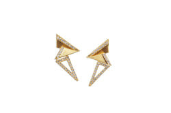 Origami Brushed Gold Mini Earrings