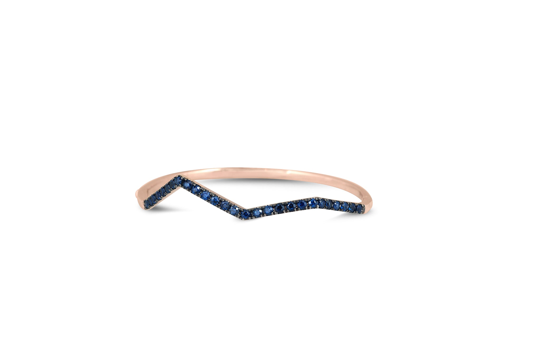 Origami Ziggy Pave Bangle in blue Sapphire