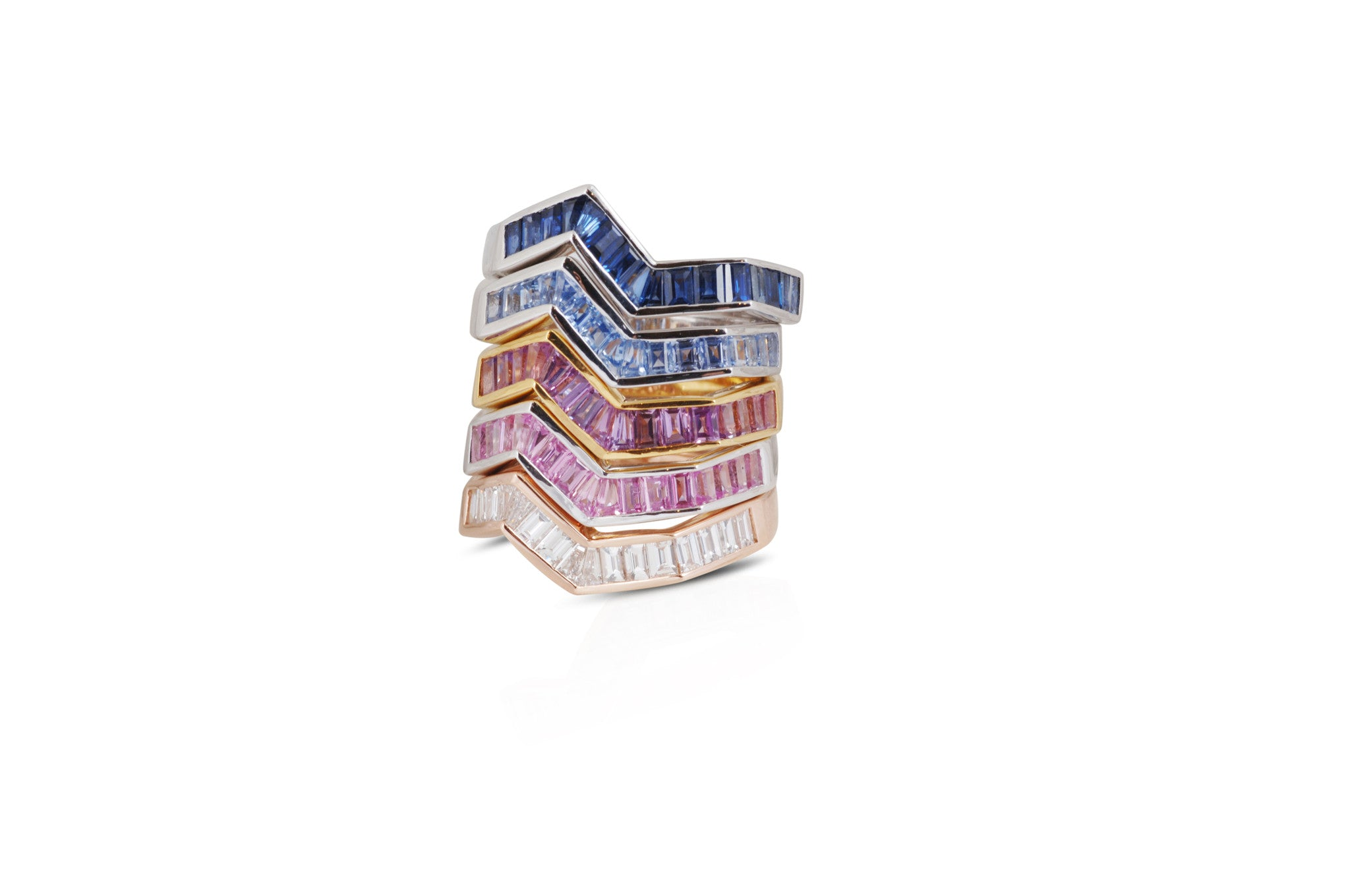 Origami Ziggy Purple Sapphire Ring in White Gold