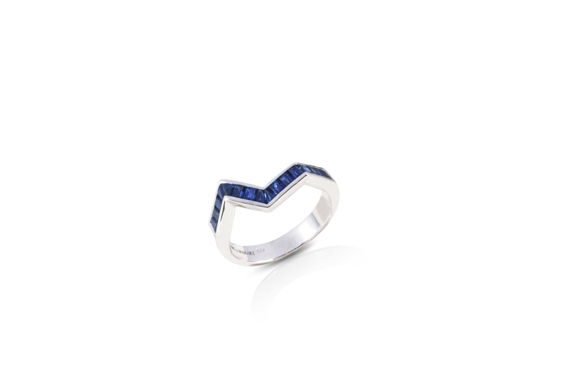 Origami Ziggy Blue Sapphire Ring in Rose Gold
