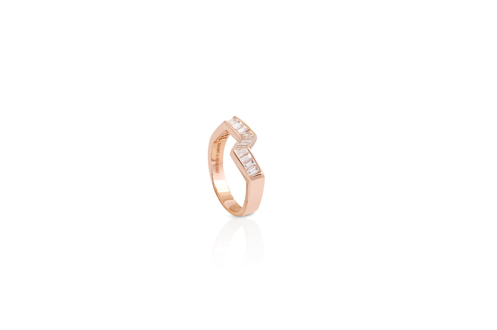 Origami Ziggy Diamond Ring in Rose Gold