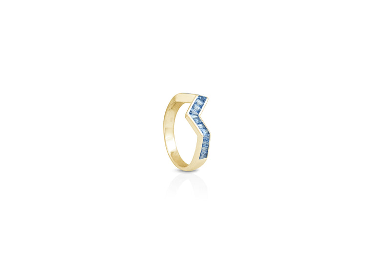 Origami Ziggy Ring in Blue Sapphire