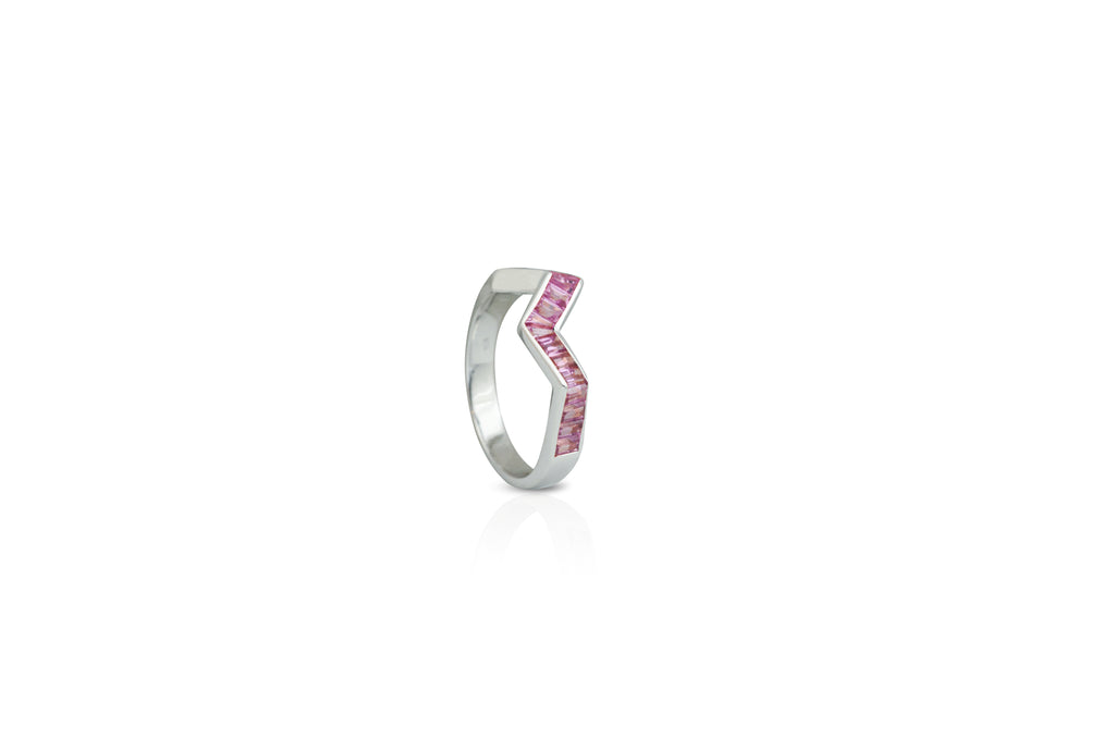 Origami Ziggy Pink Sapphire Ring in White Gold