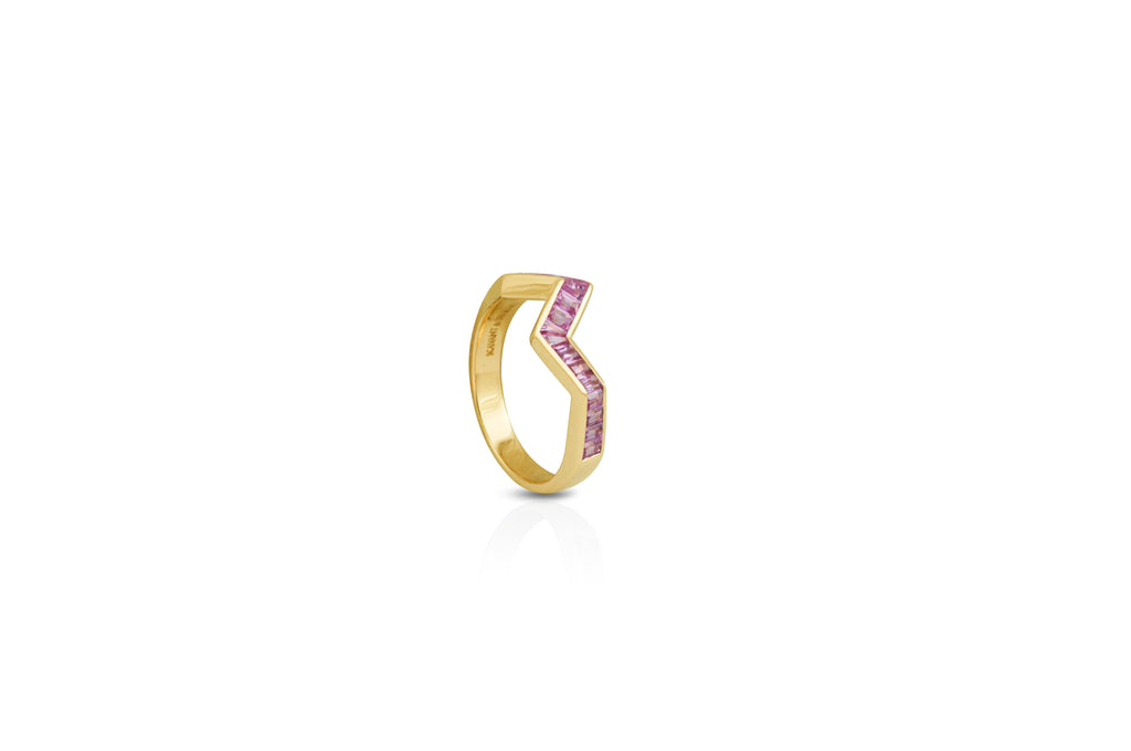 Origami Ziggy Pink Sapphire Ring in Yellow Gold