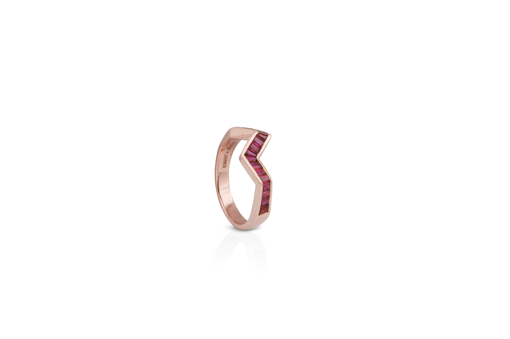 Origami Ziggy Ruby Ring in Rose Gold