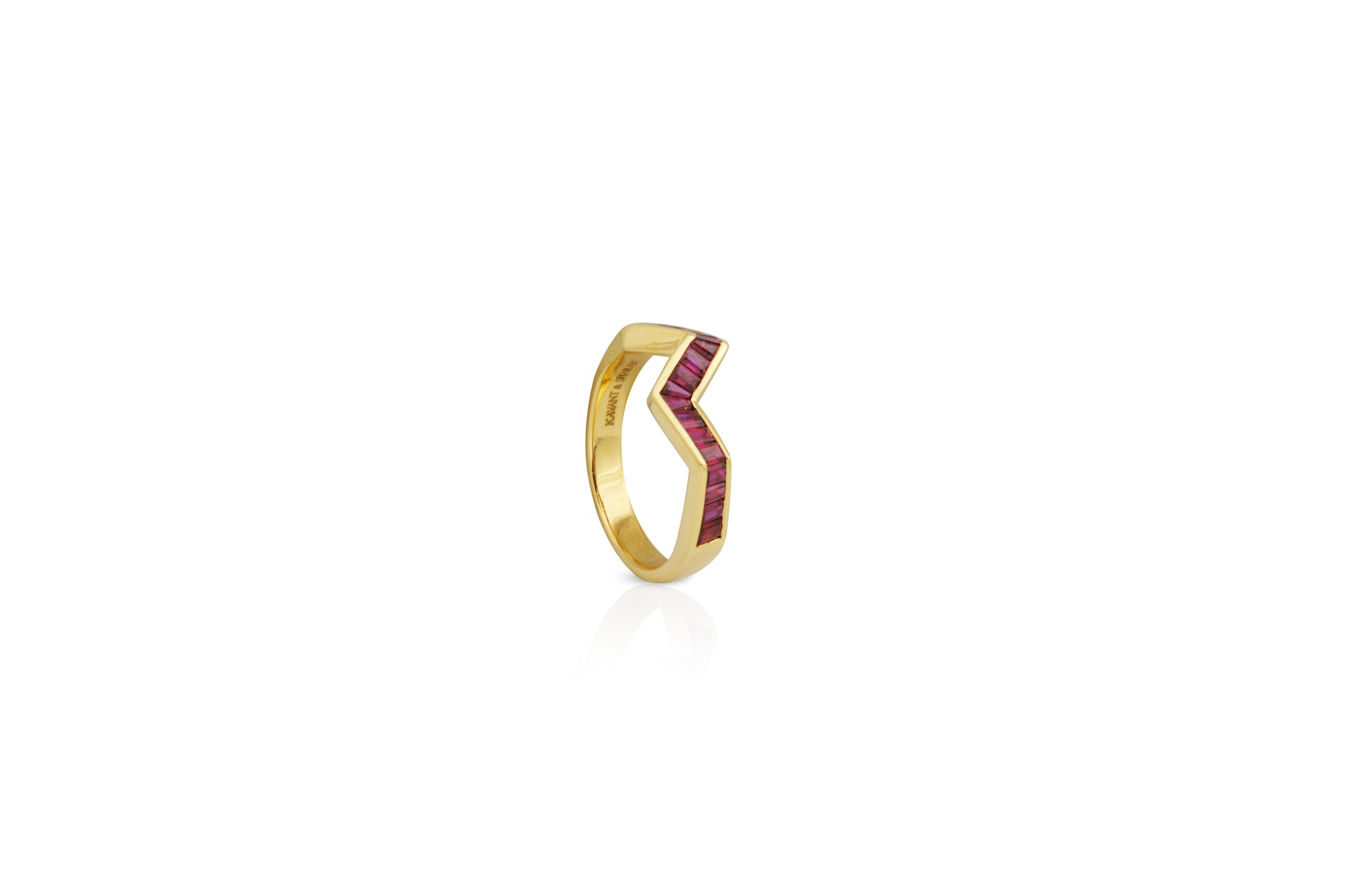 Origami Ziggy Ruby Ring in White Gold