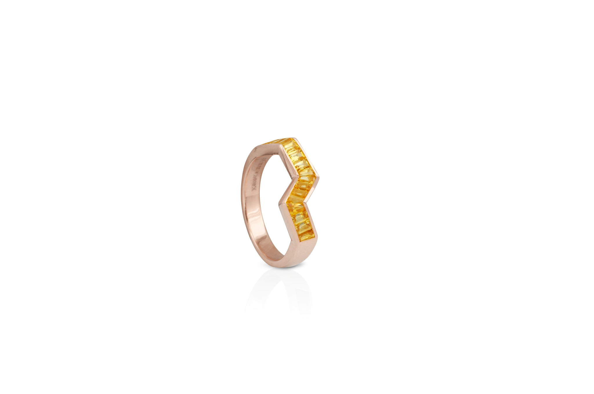 Origami Ziggy Yellow Sapphire Ring in Rose Gold
