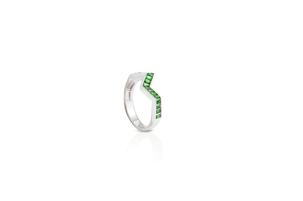 Origami Ziggy Tsavorite Garnet Ring in White Gold
