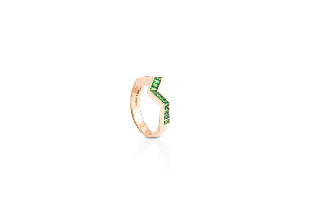 Origami Ziggy Tsavorite Garnet Ring in Rose Gold