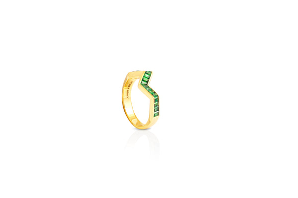 Origami Ziggy Tsavorite Garnet Ring in Yellow Gold