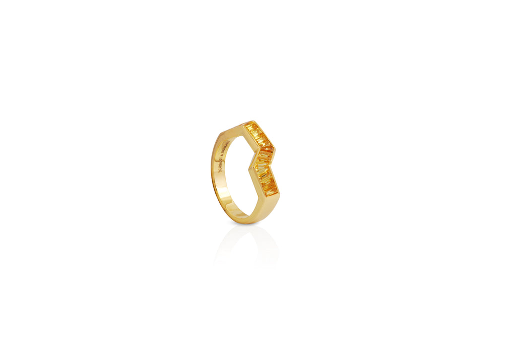 Origami Ziggy Yellow Sapphire Ring in Yellow Gold