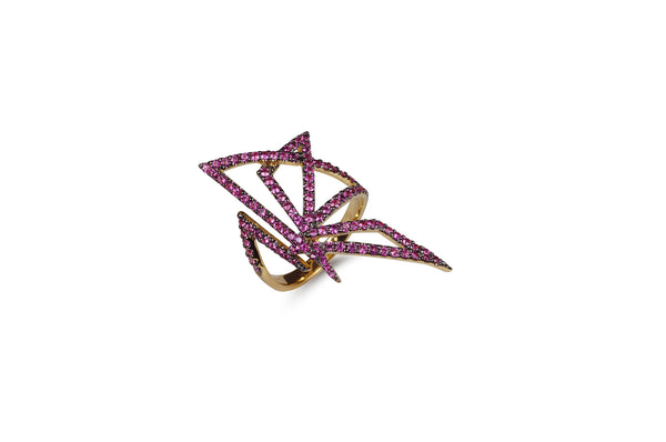 Origami Butterfly Silhouette Pink Sapphire Ring