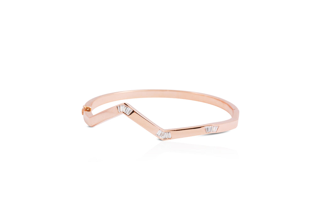 Origami Ziggy Minimalist Diamond Bangle