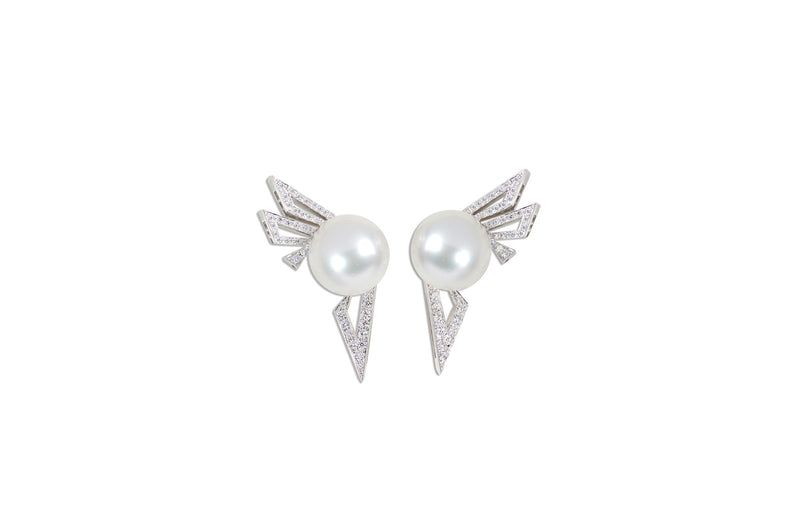 Origami Silhouette Pearl Earrings