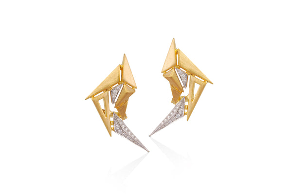 Origami Brushed Gold Swan Earrings