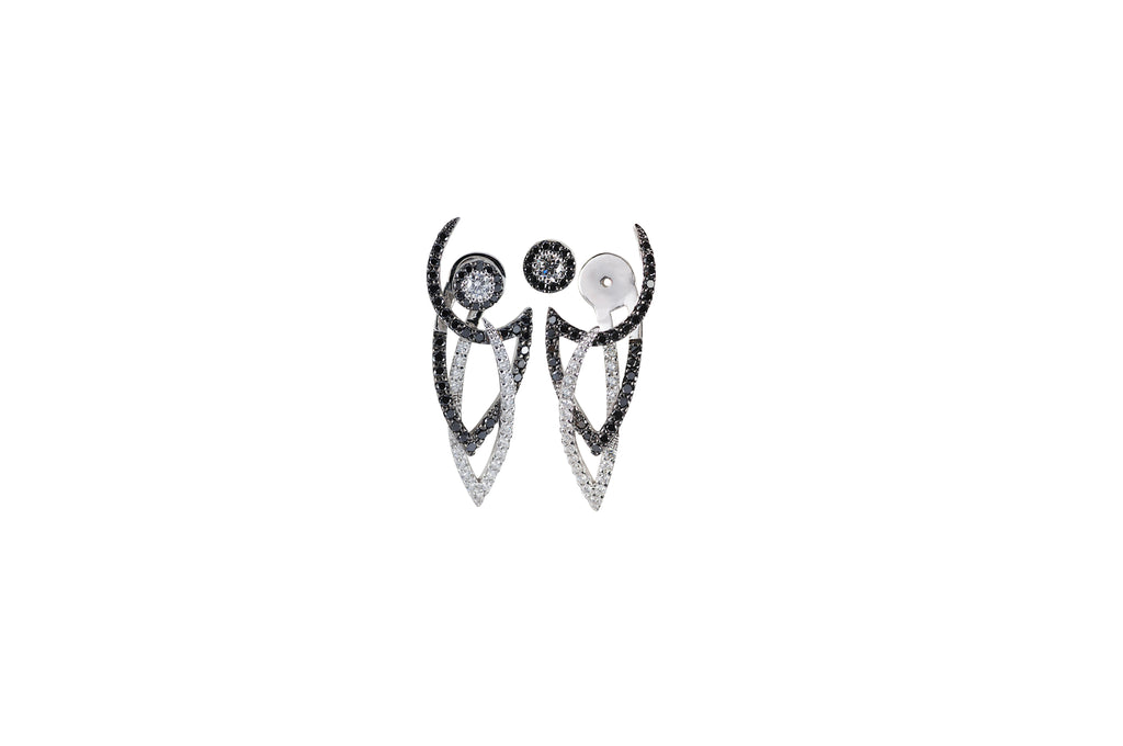Le Phoenix Intertwine Black and White Diamond Jacket  Earrings