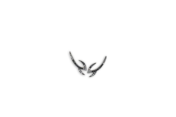 Le Phoenix Claw Black and White Diamond Earrings