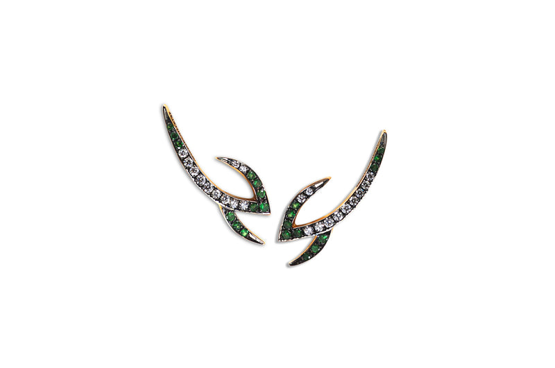 Le Phoenix Claw Tsavorite & Diamond Earrings