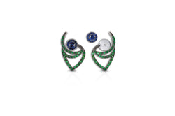 Le Phoenix Over-the-Moon Sapphire & Tsavorite Earrings