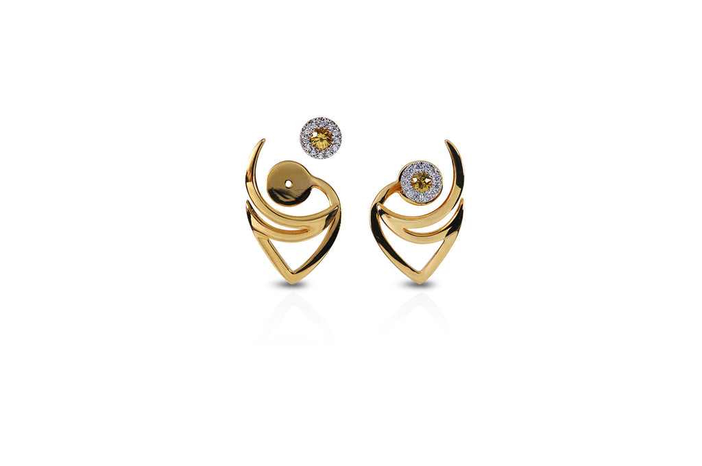 Le Phoenix Over-the-Moon Yellow Sapphire Earrings [ as seen on Hilary Duff ]