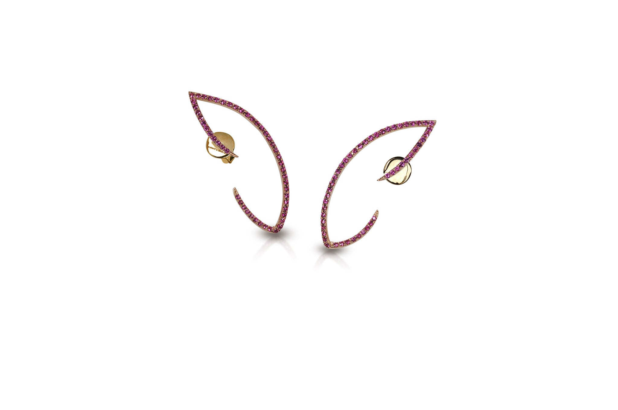 Le Phoenix Wing Wing Pink Sapphire Earrings