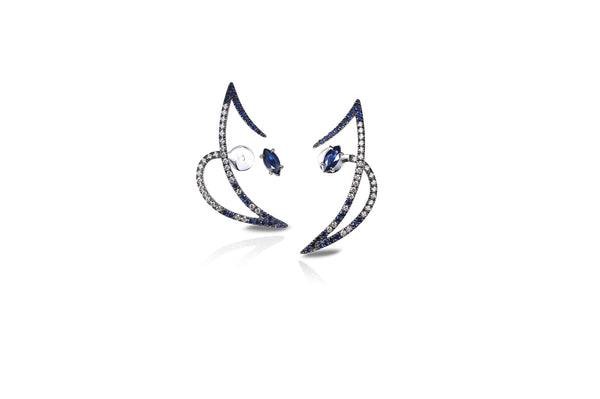 Le Phoenix Zeal II Blue Sapphire & Diamond Earrings