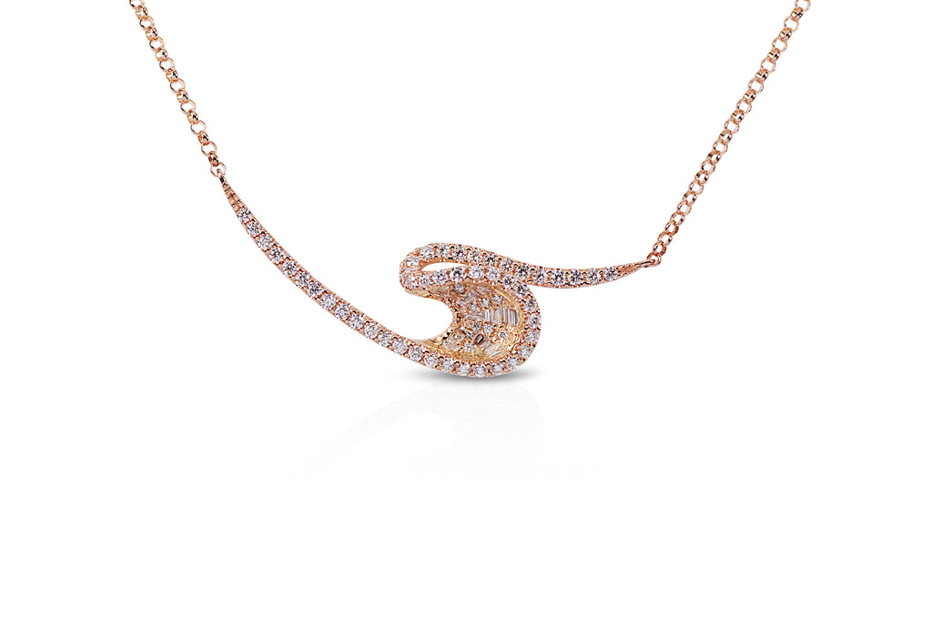 Talay Rose Gold Diamond Wave Necklace
