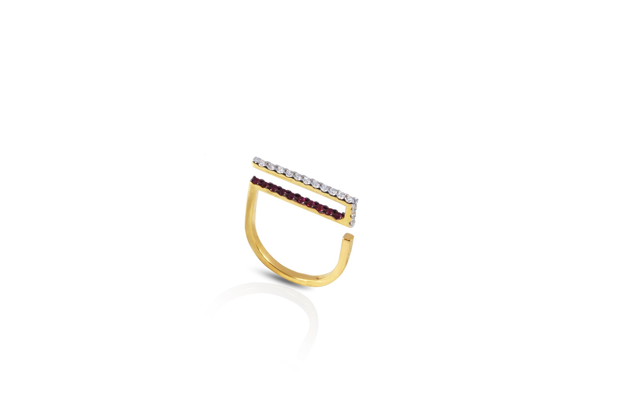 GeoArt Happy Rectangle Ruby & Diamond Ring