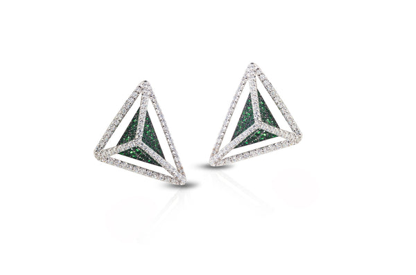 GeoArt Basic Triangle Tsavorite & Diamond Earrings