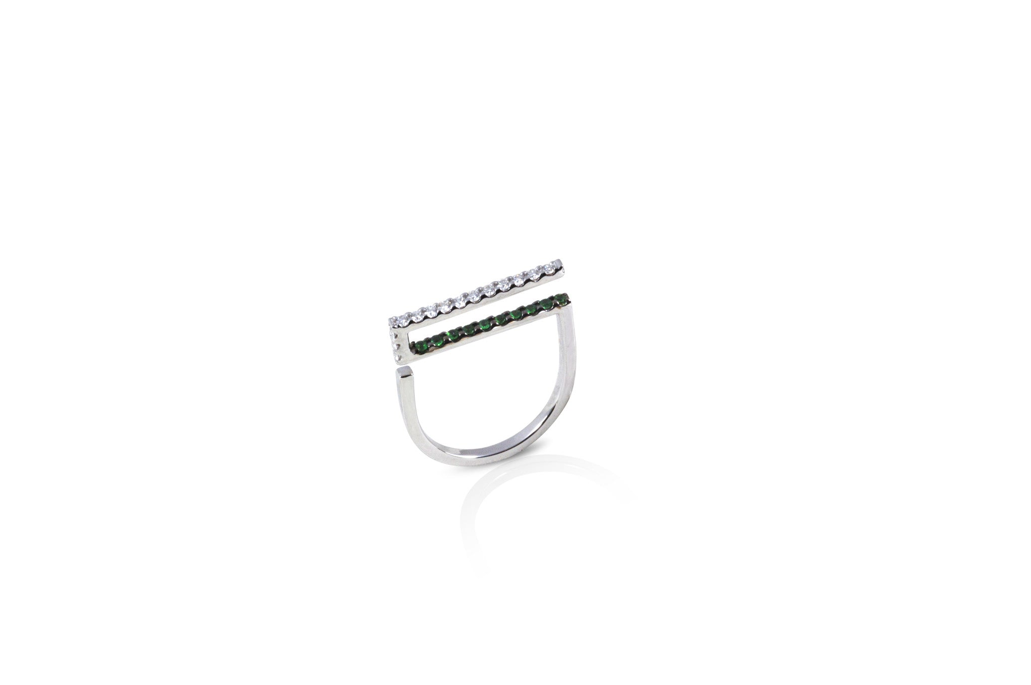 GeoArt Happy Rectangle Tsavorite & Diamond Ring