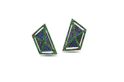 GeoArt Basic Trapeze Tsavorite & Sapphire Earrings