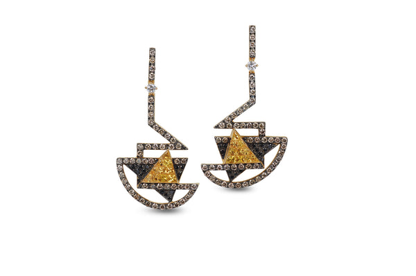 GeoArt TTR-X Series Yellow Sapphire Diamond Earrings