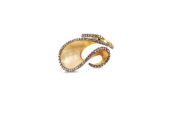 Talay Dancing Wave Brushed Yellow Gold Diamond Ring